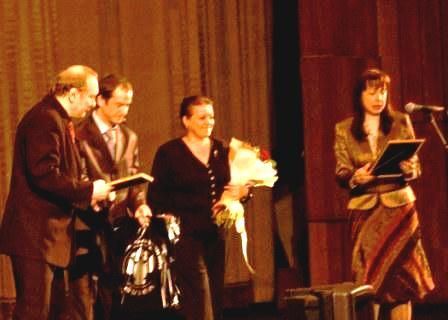 Главная сцена Дома кино в Москве. Момент награждения председателя НСНБР А.Г.Огнивцева Почетным дипломом Управления ФСКН России по Москве. 2008 год.