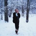 Тайцзи цюань в 25-ти градусный мороз. Январь 2012. На фото - председатель НСНБР А.Г.Огнивцев. Москва.