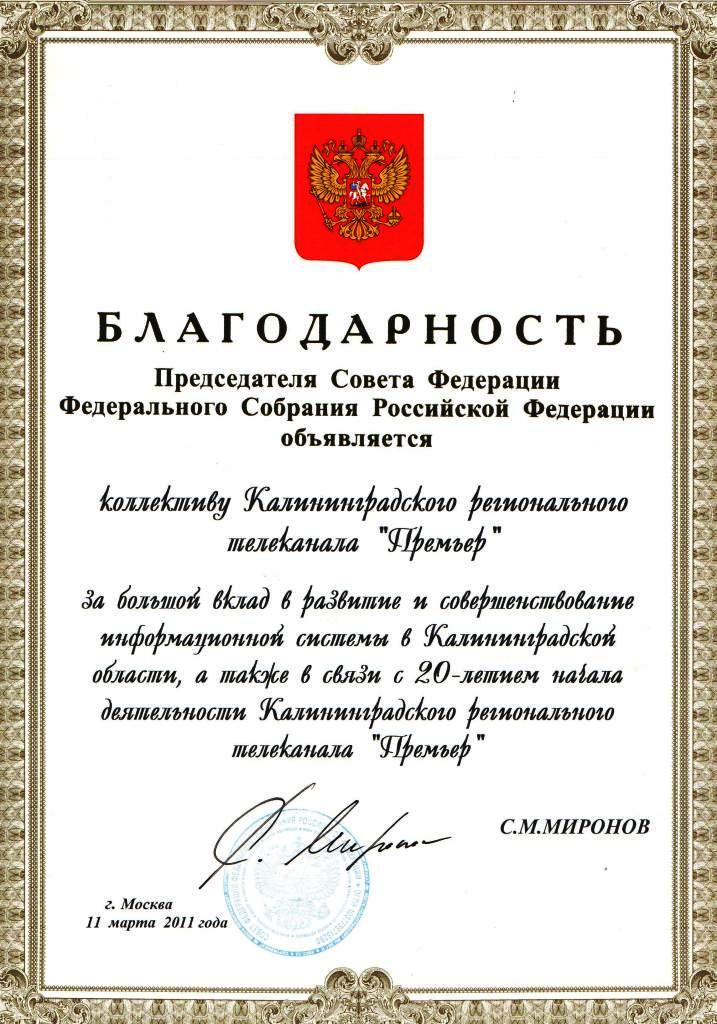 Благодарность Миронов
